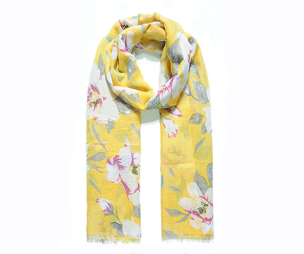 Yellow glitter wild English flower print