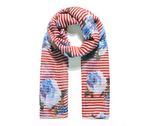 Load image into Gallery viewer, Red stripe meadow floral print scarf
