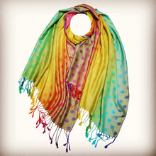 Load image into Gallery viewer, Rainbow Dots Print Reversible Pashmina