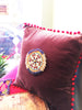 VELVET PILLOW WITH TRIBAL PATCH