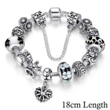 Jewelry Silver Charms Bracelet & Bangles With Queen Crown Beads Bracelet for Women