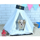 White Pet Teepee House Pet Bed Cat Bed Pet House Portable Dog Tents Pet House Bed for Small Dogs ( with Cushion )