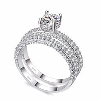 High quality Rose Gold White gold Women Fashion AAAA Cubic Zirconia Wedding Engagement ring