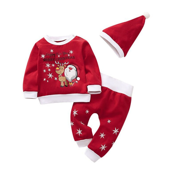 Christmas Costumes Baby Clothes Autumn Girl Boy Long Sleeve Cartoon Print Blouse Tops+Pants+Hat Costume Set