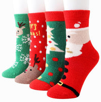 Winter Warm Coral Velvet Christmas Stockings Thickening Elk Socks