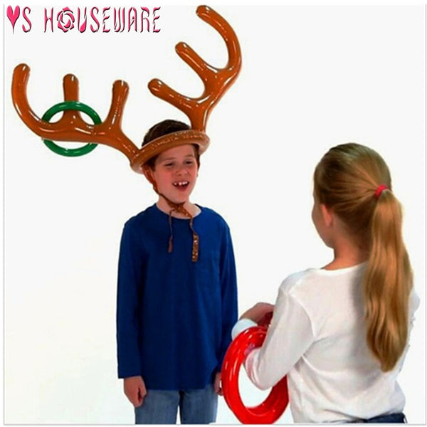 Inflatable Santa Funny Reindeer Antler Hat Ring Toss Christmas Holiday Party Game Supplies Toys