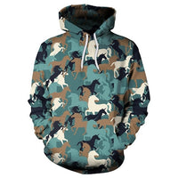Colorful Animal Horse 3D Printing Sweatshirt Hoodies