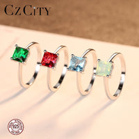 Emerald Simple Female Zircon Stone Finger Ring 925 Sterling Silver Women Jewelry Prom Wedding Engagement Rings