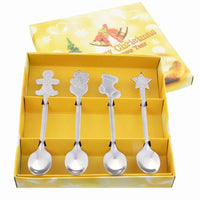 4pcs Christmas Style Teaspoon Christmas Cutlery Flatware Decoration Accessories Stainless Steel Coffee Dessert Ice Cream Spoon
