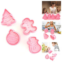 4 Piece Set Christmas Biscuit Fondant Cake Mold Kitchen Baking Cake Decoration Stamping Christmas Spring Mold Pink