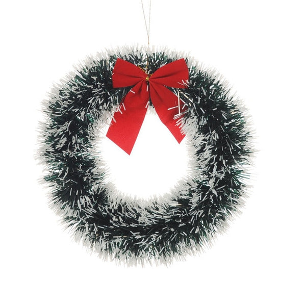 Christmas Wreath Bow Pine Needle Christmas Decoration For Home New Year Gift Hanging Xmas Tree Ornaments Garland Party Supplies