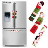 OurWarm 3pcs Fridge Handle Covers Christmas Microwave Oven Dishwasher Door Handle Cover Christmas Decorations for Home 10*24cm