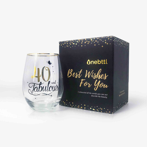 40th Birthday Wine Glass | Onebttl