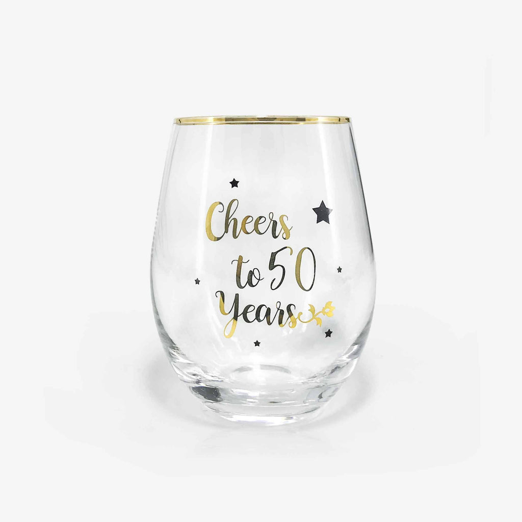 50th Birthday Gift Stemless Wine Glass | Onebttl