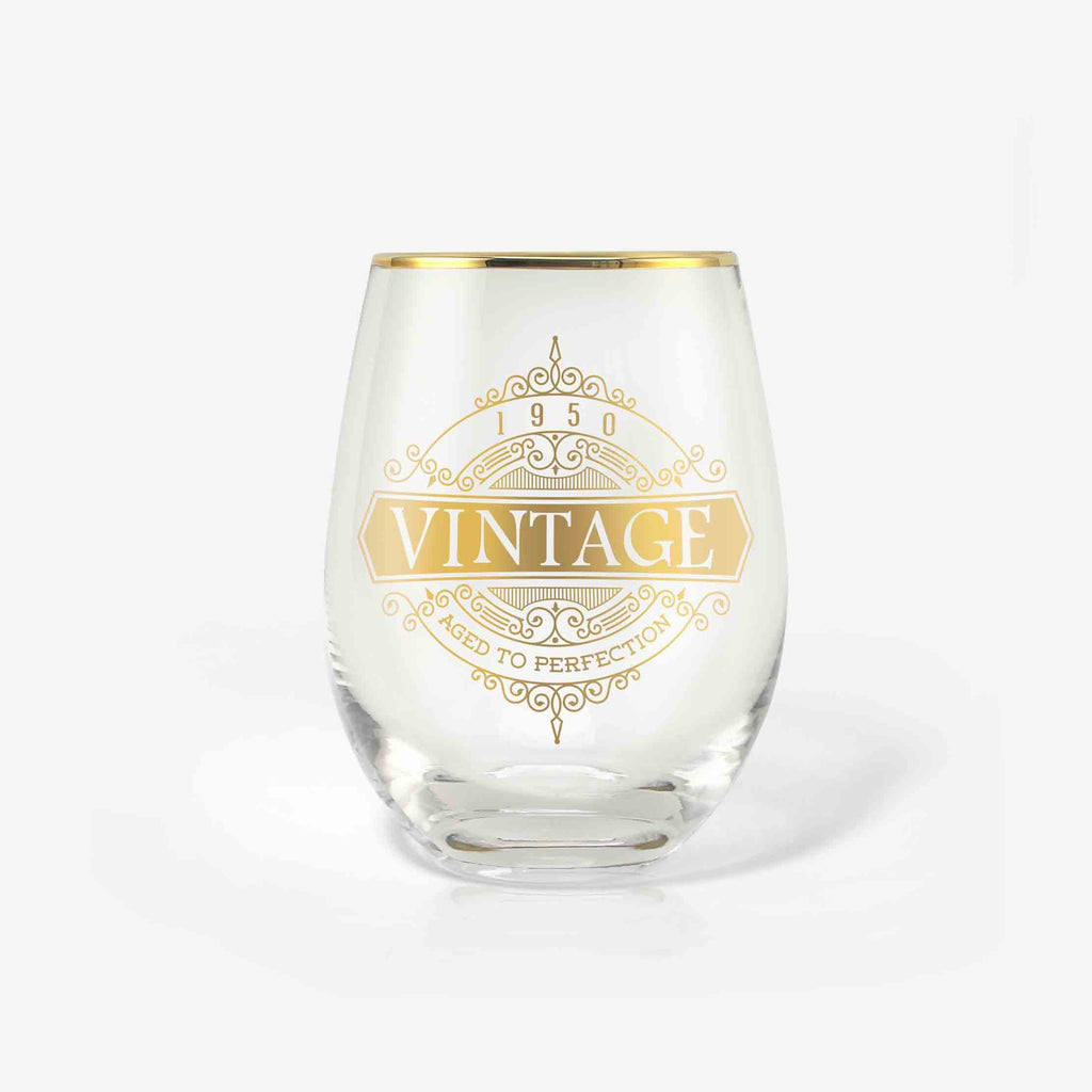 70th Birthday Wine Glass (Vintage) | Onebttl