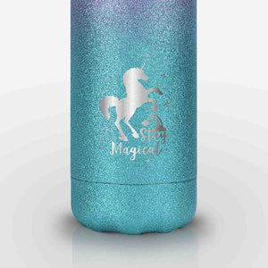 Unicorn Glitter Stainless Steel Water Bottle (Purple Green)