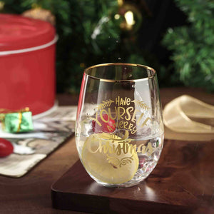 Christmas Stemless Wine Glasses