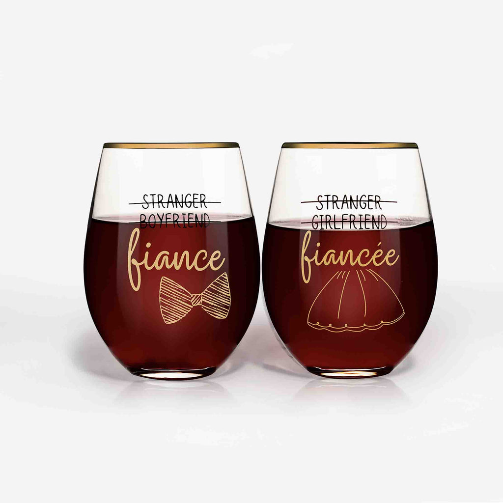 Engagement Wine Glasses for Couple