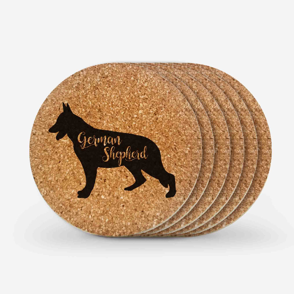 German Shepherd Cork Coasters Gifts (6 Pieces)