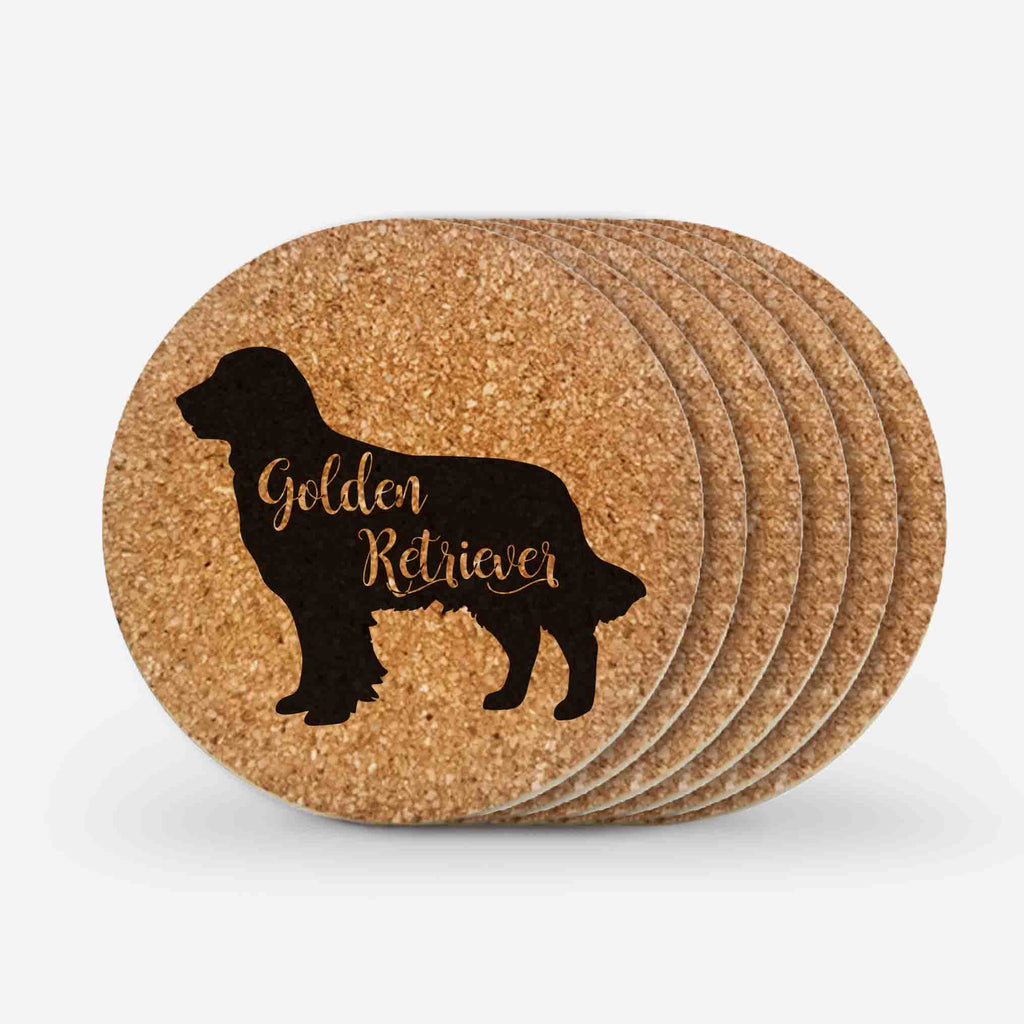 Golden Retriever Dog Cork Coasters Gifts (6 Pieces)