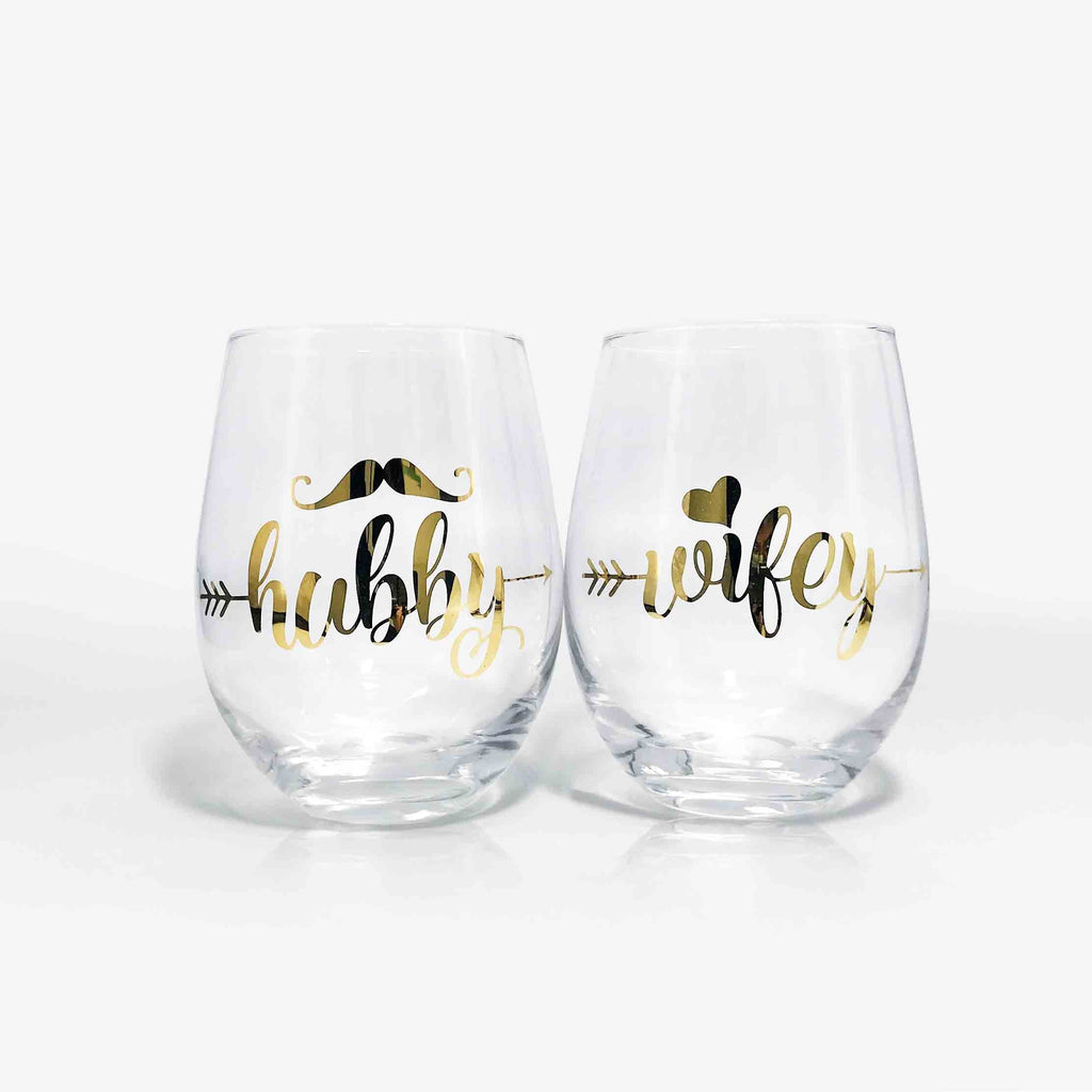 Hubby and Wifey Couples Stemless Wine Glasses Set | Onebttl