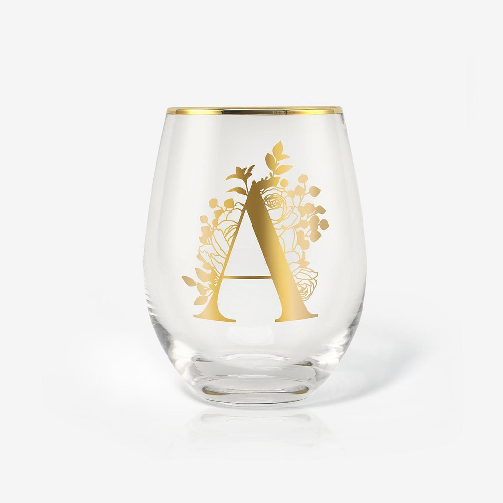 Name Initial Wine Glasses Gift - 18oz, Monogrammed, Gold | Onebttl
