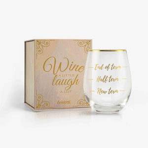 Unique Funny Teacher Gifts 18oz Wine Glass with Card & Box (New/Half/End Term) | Onebttl