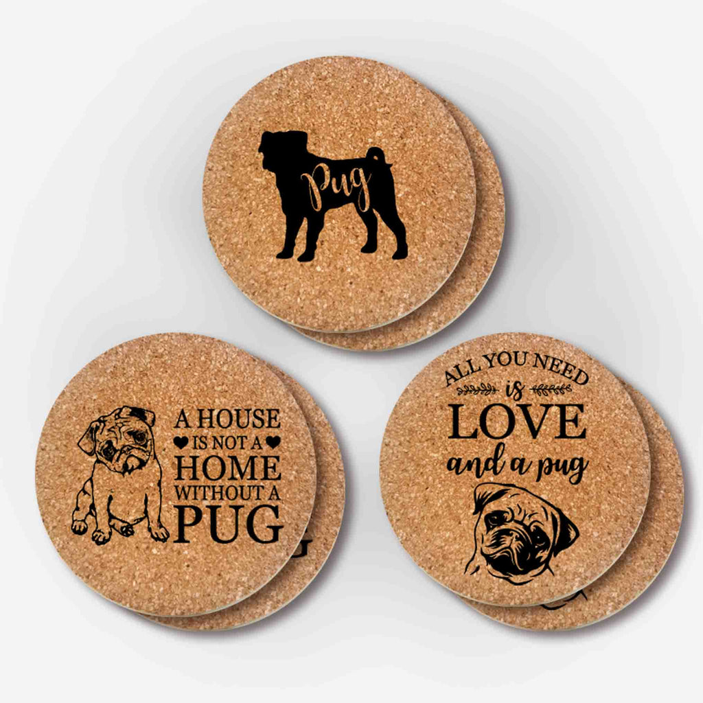 Pug Cork Coasters Gifts (3 Styles, 6 Pieces)