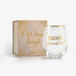 Unique Funny Teacher Gifts 18oz Wine Glass with Card & Box (Survival Kit) | Onebttl