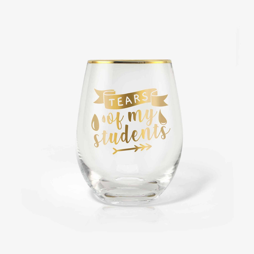 Unique Funny Teacher Gifts 18oz Wine Glass with Card & Box (Tears of My Students) | Onebttl