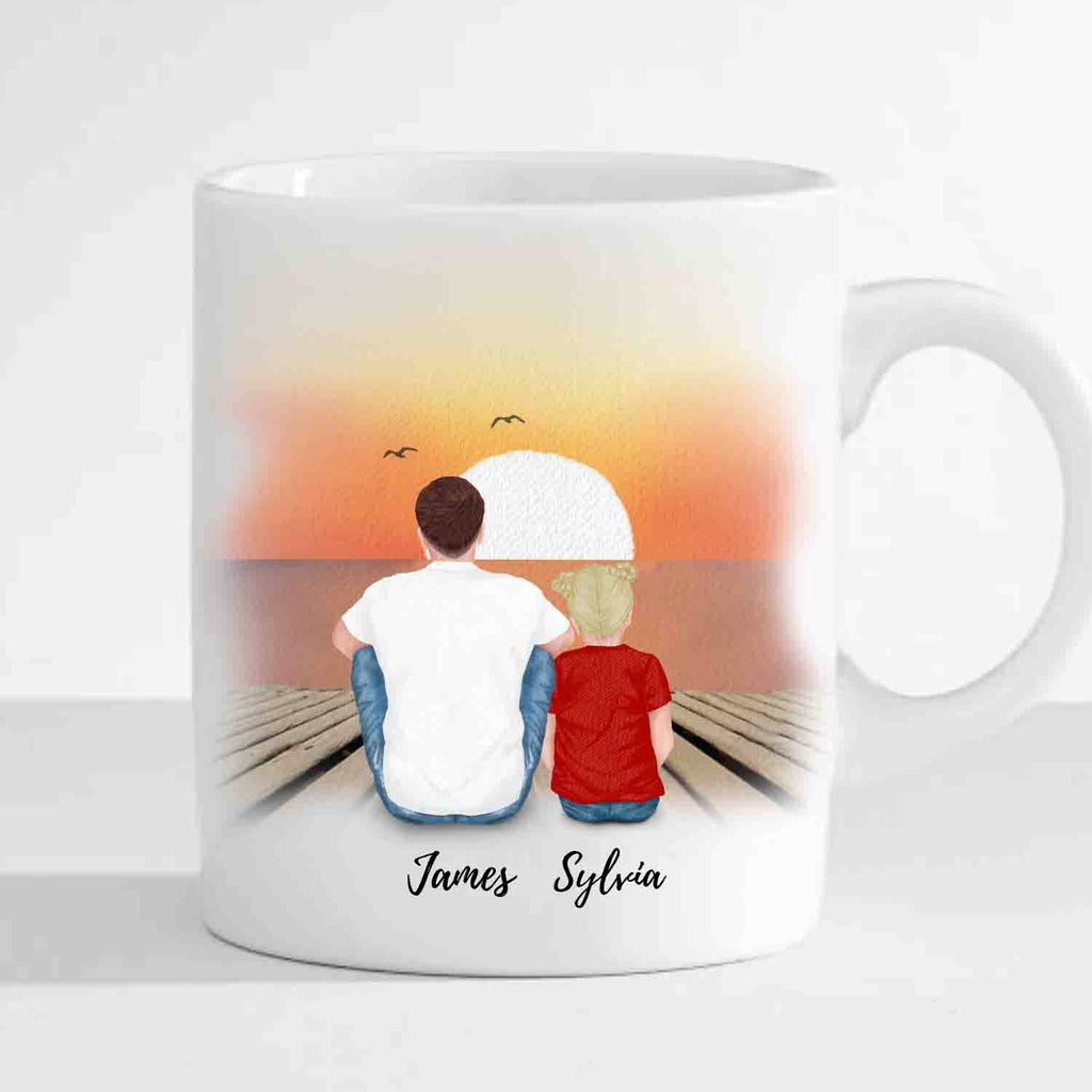 Personalized Family Mug for Dad, Mom, Daughter and Son (Customized Pictures, Names and Background)