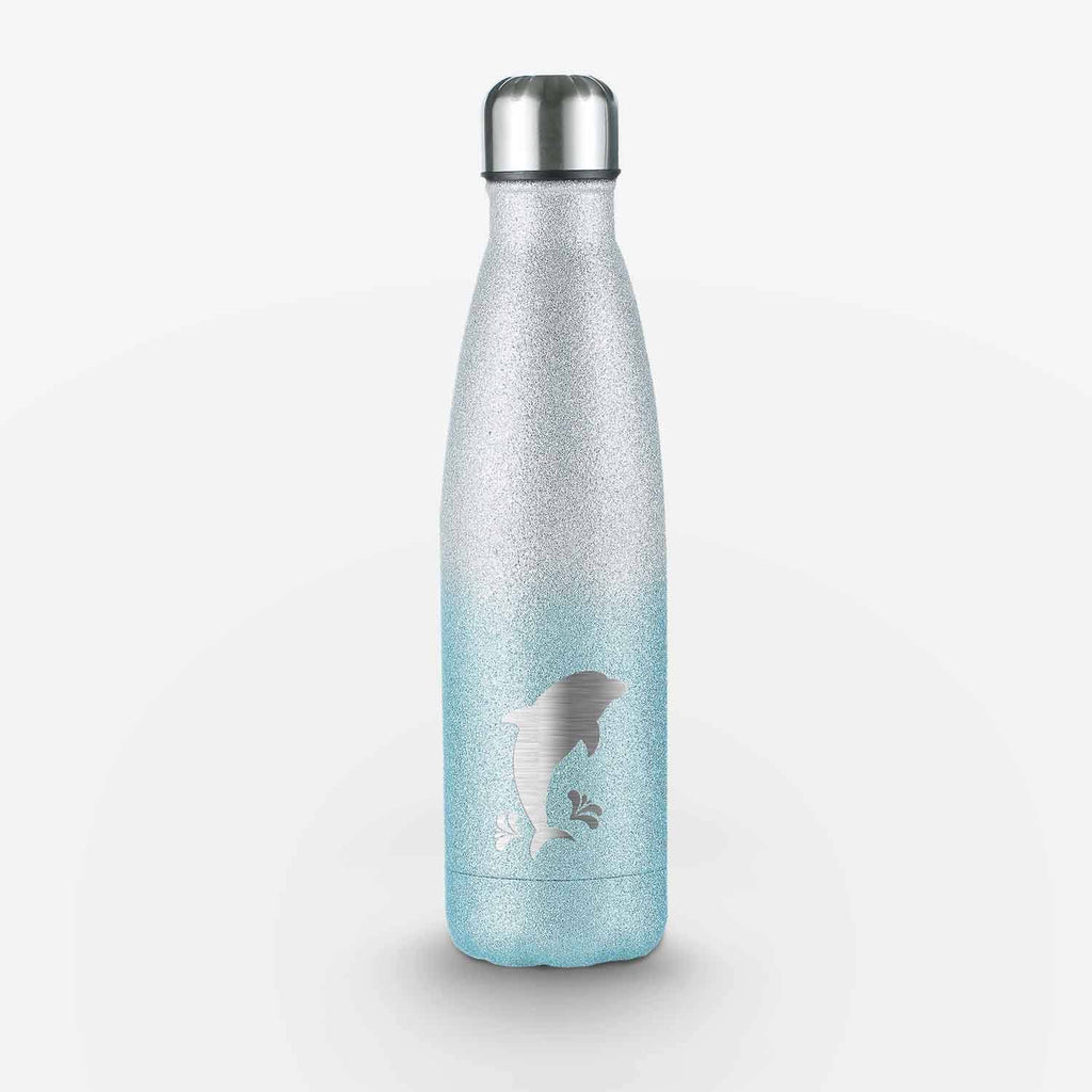 Dolphin Glitter Water Bottle (White and Blue)
