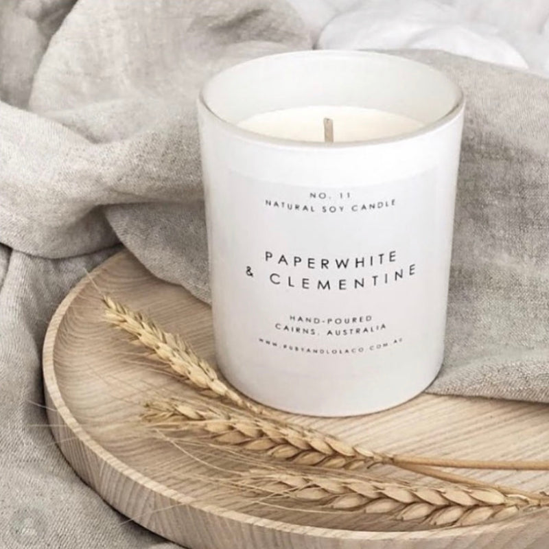 Eco-luxe soy candle - Paperwhite & Clementine