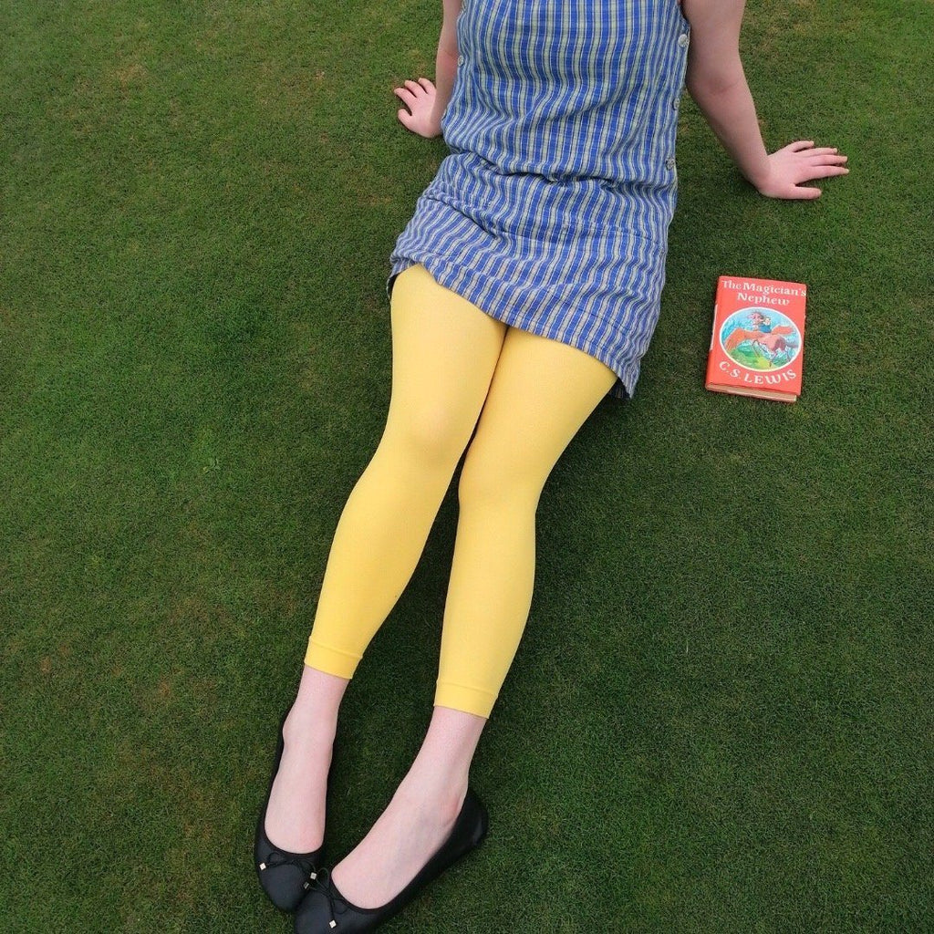 Tights - Kids Footless Tights - Lemon Sherbet