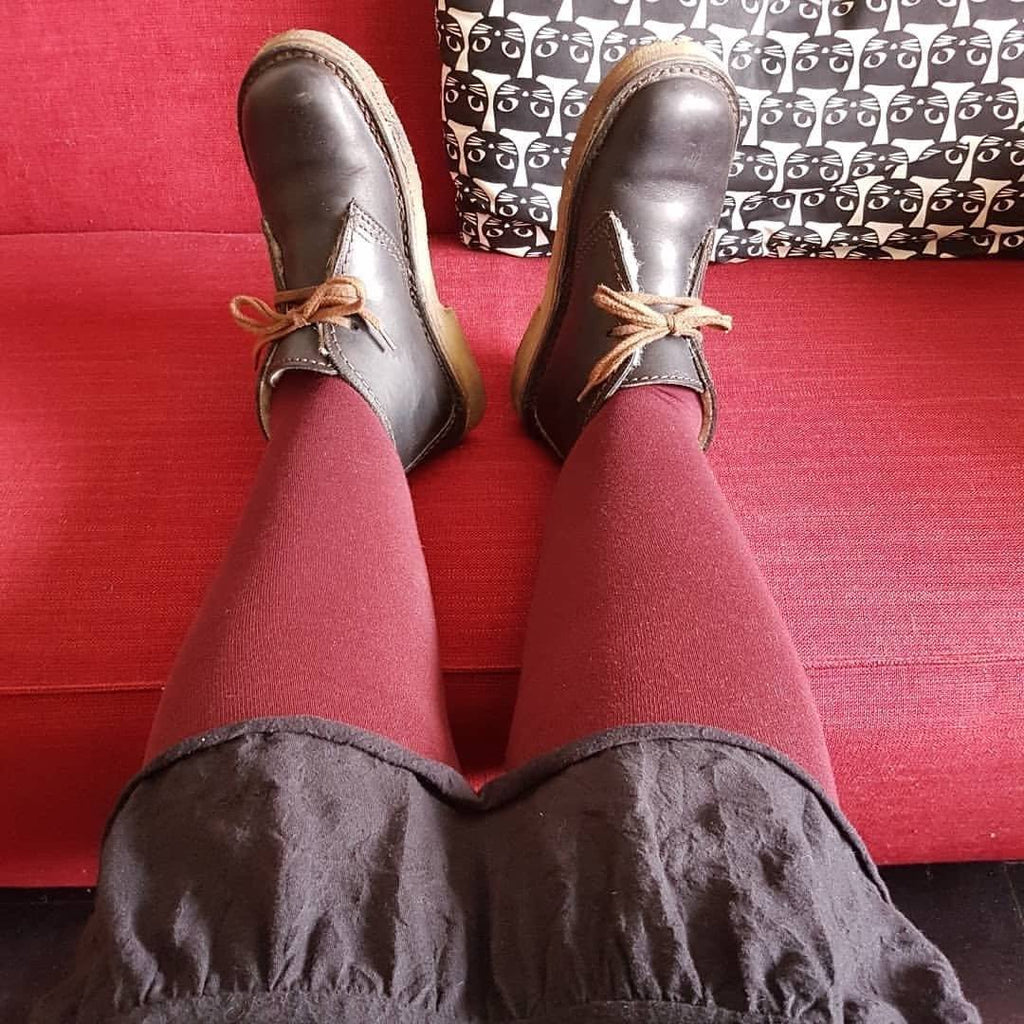 Tights - Merino Wool Tights - Red Velvet Cake