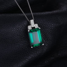 Load image into Gallery viewer, Luxury 6ct Created Nano Russian Emerald 925 Sterling Silver Pendants Necklaces Gemstone Jewelry for Women Jewelry