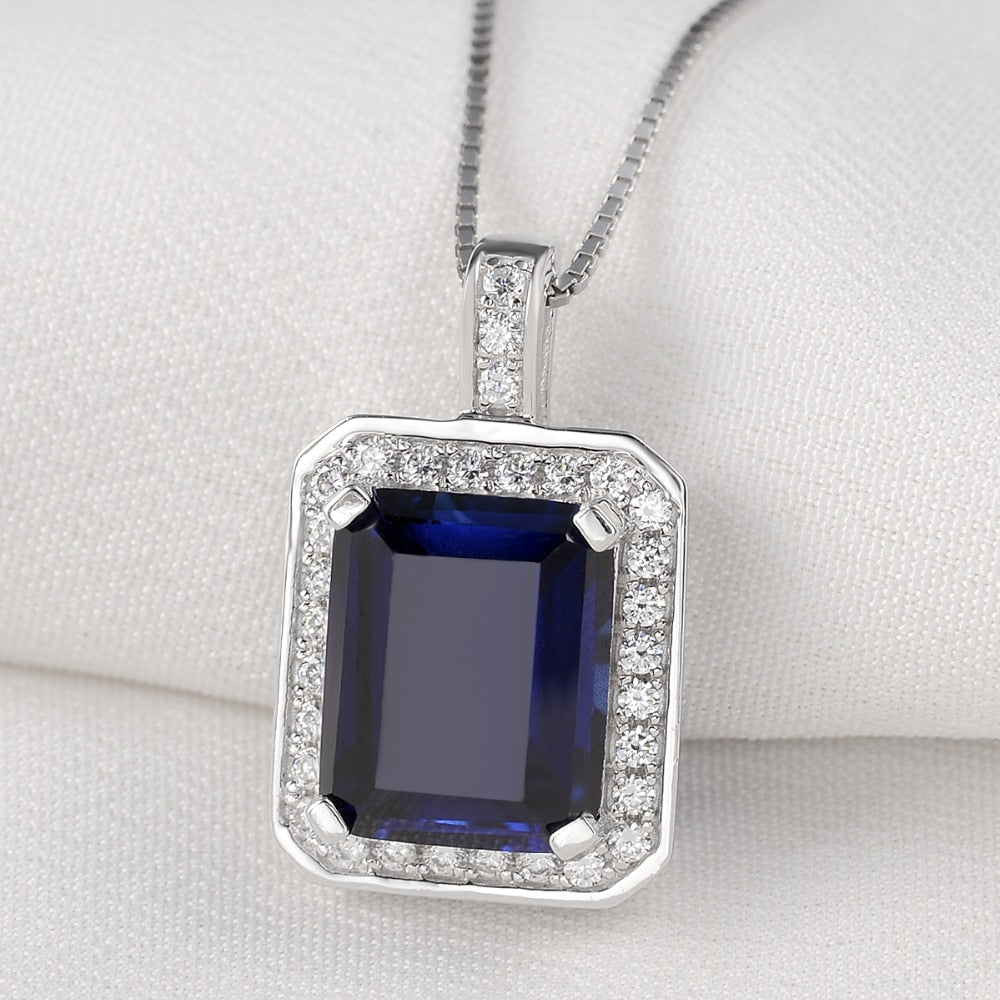 Elegant Pendant 4.55 Ct Rectangle Ocean Blue