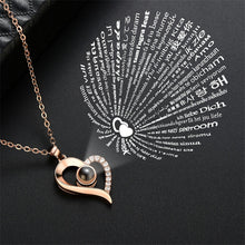 Load image into Gallery viewer, Silver 100 Languages I Love You Projection Pendant Necklace Women CZ Jewelry Stainless Steel Gold Chain Collier Femme