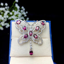Load image into Gallery viewer, Women Natural Garnet Gemstone Pendant Necklace Women 925 Sterling Silver Anniversary Butterfly Necklace Pendant FN271