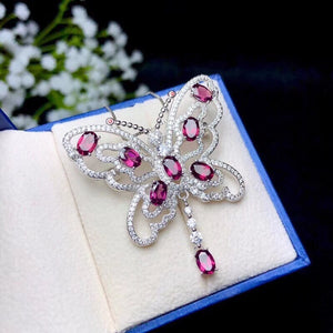 Women Natural Garnet Gemstone Pendant Necklace Women 925 Sterling Silver Anniversary Butterfly Necklace Pendant FN271