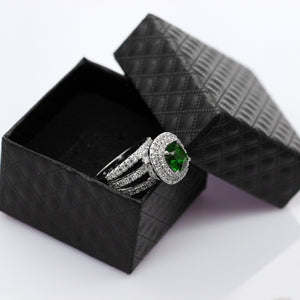 Women's Wedding Rings Engagement Ring with Stone Big Green Crystal Zirconia Jewelry Accessories Gifts for Women