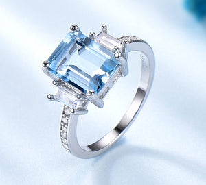 Blue Topaz Gemstone Rings for Women Genuine 925 Sterling Silver Aquamarine Ring Romantic Wedding Engagement Fine Jewelry