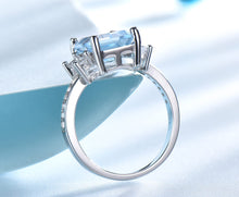 Load image into Gallery viewer, Blue Topaz Gemstone Rings for Women Genuine 925 Sterling Silver Aquamarine Ring Romantic Wedding Engagement Fine Jewelry