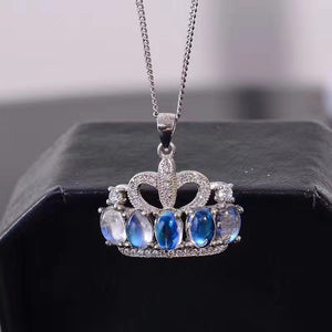Moonstone Princess Crown Pendant Necklace for Women, 925 Sterling Silver Gemstone Fine Necklace Pendant for Girls FN344