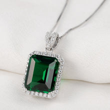 Load image into Gallery viewer, Elegant Pendant For Women Green AAA Cubic Zircon 18 Inches 925 Sterling Silver Box Chain Trendy Jewelry