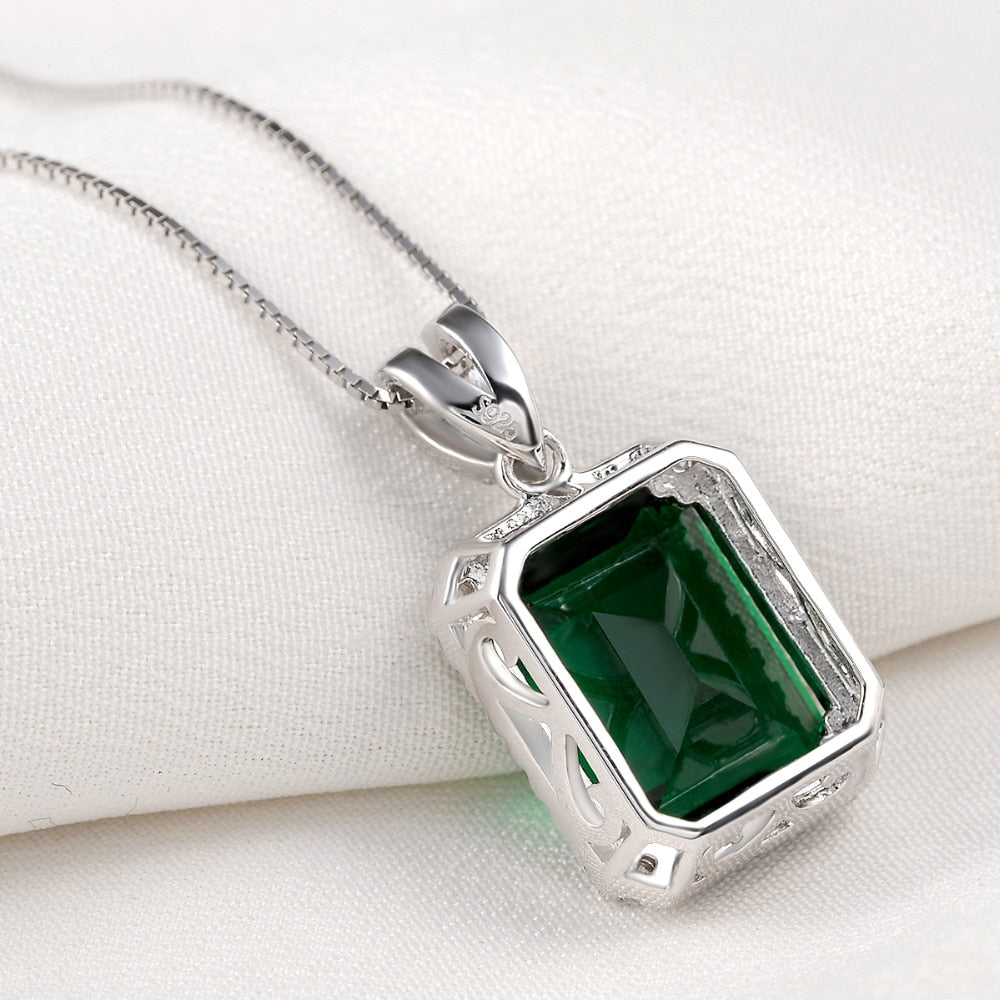 Elegant Pendant For Women Green AAA Cubic Zircon 18 Inches 925 Sterling Silver Box Chain Trendy Jewelry