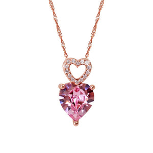 Pink Heart Necklaces Pendants Silver 925 Jewelry Necklace For Women