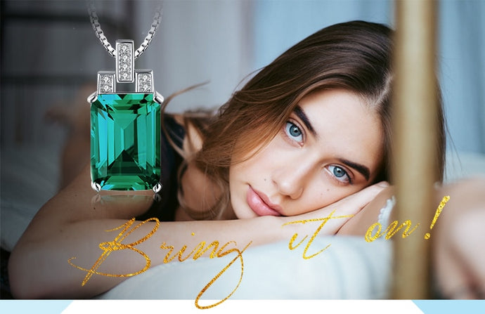 Luxury 6ct Created Nano Russian Emerald 925 Sterling Silver Pendants Necklaces Gemstone Jewelry for Women Jewelry
