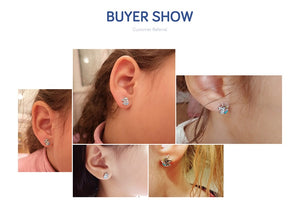100% 925 Sterling Silver Fashion Licorne Memory Clear CZ Stud Earrings For Women Sterling Silver Jewelry Gif