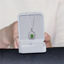 Load image into Gallery viewer, 5ct Jasper Gemstone Pendant Necklace Silver 925 Sterling Light Green Zircon Custom Jewelry for Women with Box